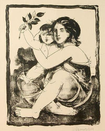 Walter Womacka, Mutter mit Kind auf dem Schoß.