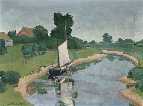 Siegfried Donndorf, Flußlandschaft. 1931.: Oil on