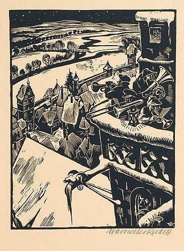 Rudolf Warnecke, Turmbläser. No date.Wood cut Im