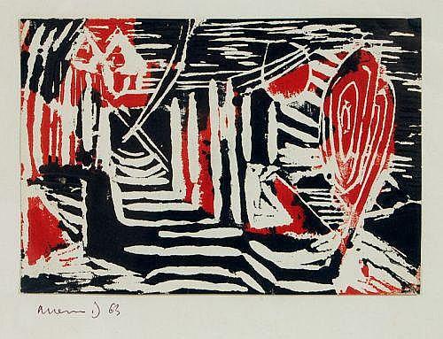 Albert Hennig, Landschaft. 1963.Linocut in Schwarz