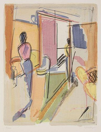 Wolfgang Leber, Interieur. 1980's.Lithograph in
