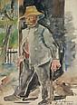 August Lange-Brock, Alter Mann. 1940.Watercolour, August Lange-Brock, Click for value