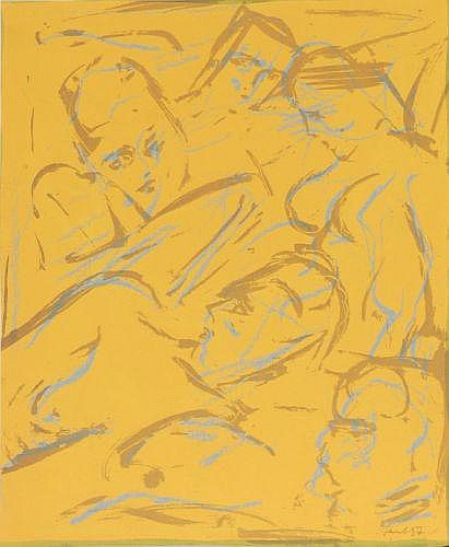Hans Vent, Akte. 1987. Lithograph in colours In
