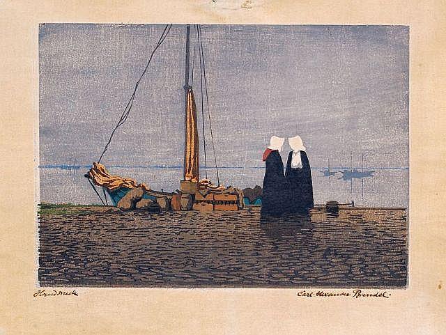 Carl Alexander Brendel, Frauen im Hafen. No date.