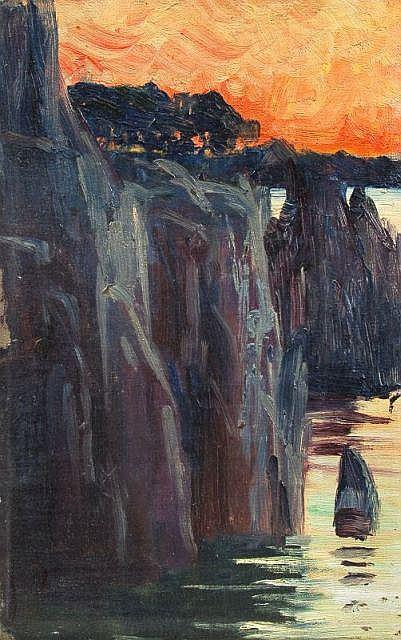 Elisabeth von Eicken, Steilküste im Sonnenuntergang. Um 1910.