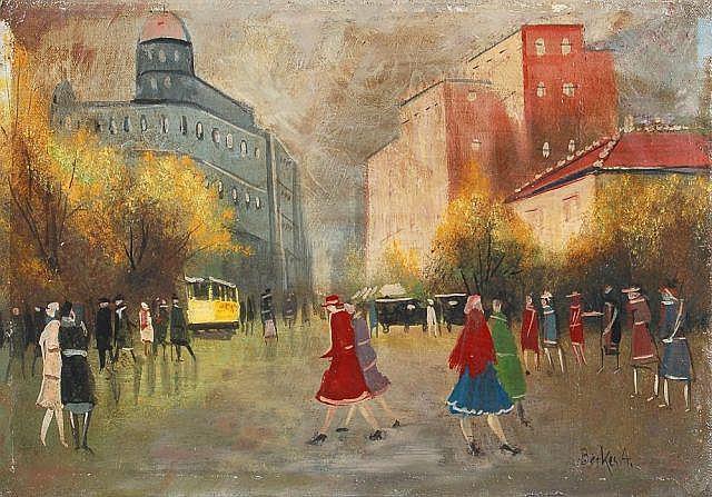 Antal Berkes, Herbstliche Straßenszene in Budapest. Wohl um 1920.