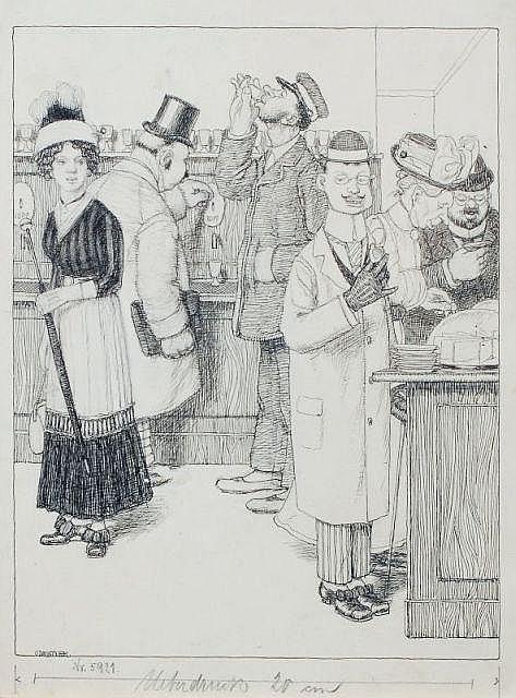 Oskar Zwintscher, Entwurfszeichnung für die Meggendorfer Blätter. Wohl 1897.