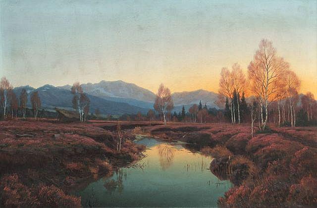 Adalbert Wex, Abendstimmung im Murnauer Moos. Um 1890.