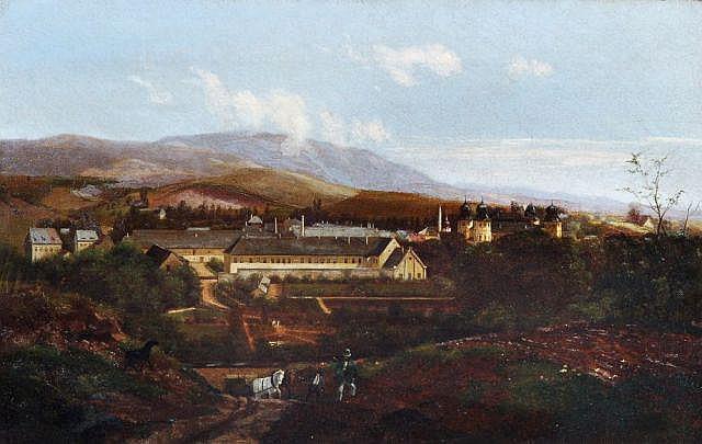 Therese Judeich, Ansicht des ostböhmischen Hohenelbe mit Schloß. 1868.