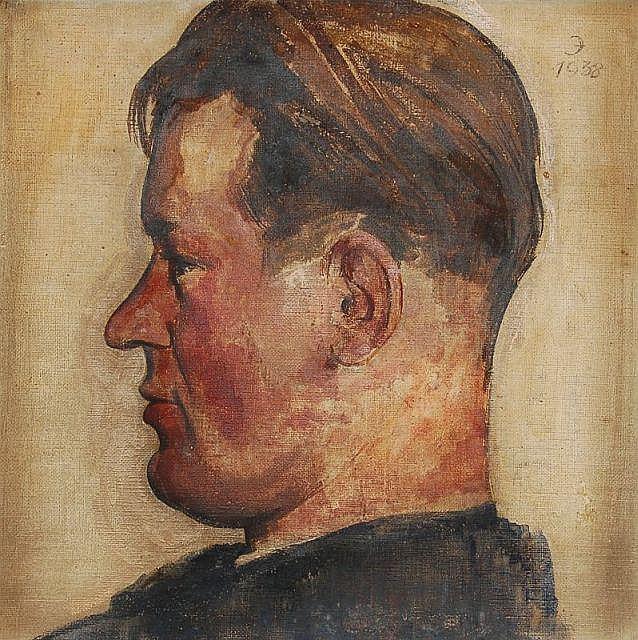 Fritz Junghans, Bildnis Curt Querner (?) im Profil. 1938.