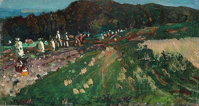 Robert H. Sterl, Bei der Kartoffelernte. Um 1900.