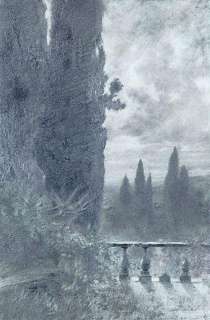 Othmar Brioschi, Blick von der Terrasse der Villa d'Este in Tivoli bei Rom. Um 1890.