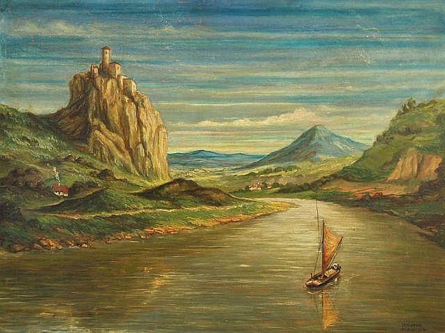 Bruno Hanich, Die Elbe am Schreckenstein. 1928.