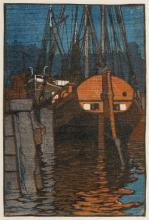 Siegfried Berndt (zugeschr.), Abendstille im Hafen. Wohl um 1906– 1910.