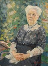 Konrad von Kardorff, Bildnis der Schwiegermutter des Kuenstlers im Garten (Frau des Christian August Bruhn, 1843–1898). Wohl 1911.