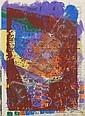 Hermann Glöckner, Abstrakte Komposition in Blau, Gelb, Violett, Rotbraun überdruckt. 1966/ 1968., Hermann Glockner, Click for value