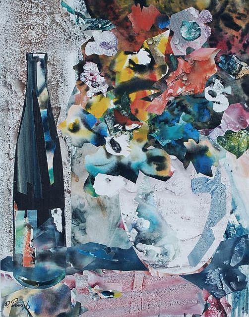Richard Pusch, Sommerblumen mit Flasche. 1993.