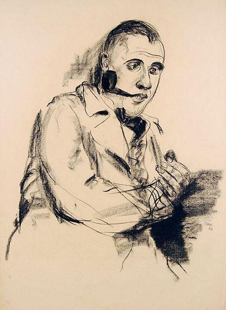 Fritz Georg Haberkorn, Herrenportrait mit Pfeife. 1926.