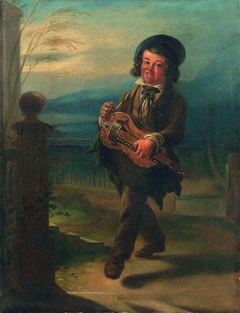 Unbekannter Künstler, Knabe mit Drehleier. Wohl um 1850.