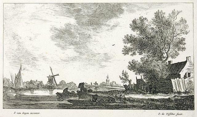 Jan de Visscher, Zwei niederländische Landschaftsdarstellungen. Wohl um 1660.