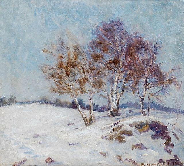 Max Gretschel, Baumbestandene Winterlandschaft. 1917.