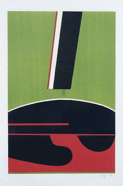 Willy Wolff, Abstrakte Komposition auf Grün und Rot. 1974.