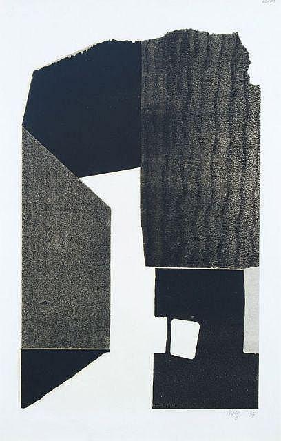 Willy Wolff, Abstrakte Komposition in Schwarz und Ocker. 1974.