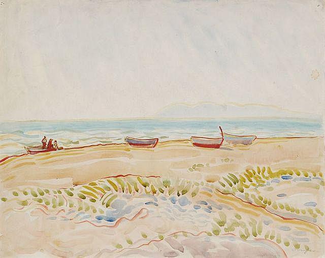 Richard Dreher, Boote am Strand. No date.