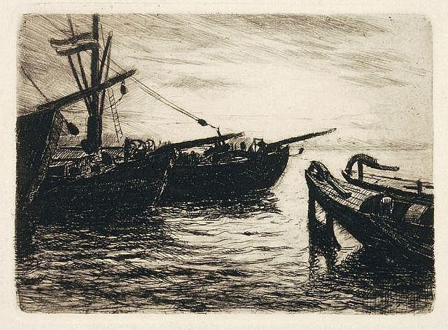 Theodor Joseph Hagen, Am Weiher/ Boote im Hafen/