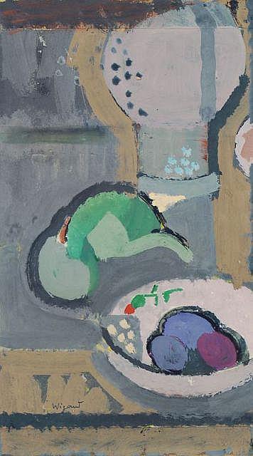 Albert Wigand, Stilleben mit Pflaumen. Um 1955.