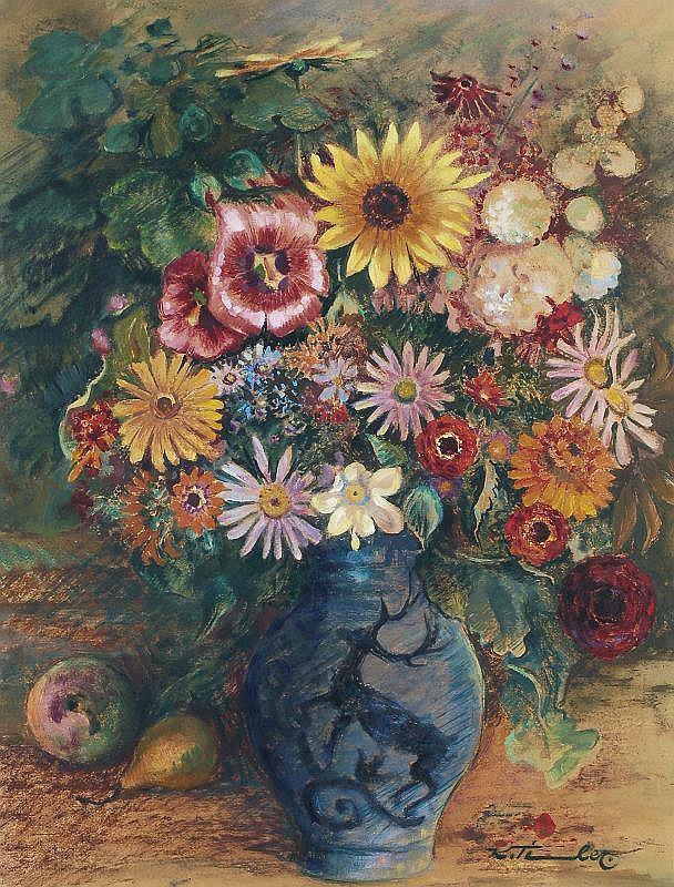 Karl Timmler, Sommerblumen in blauer Vase. No date.