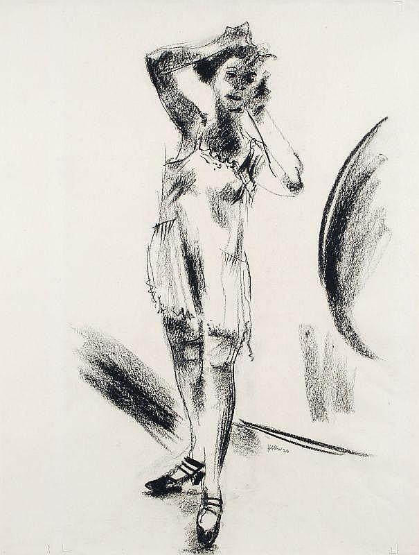 Fritz Georg Haberkorn, Junge Frau im Negligée, stehend. 1926.