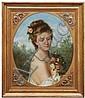 T. Mazzoni, Portrait einer jungen Dame in frühlingshafter Landschaft. 1877.