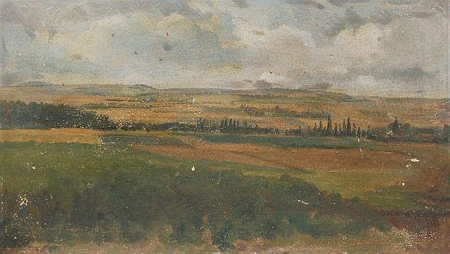 Christian Friedrich Gille, Weite sächsische Landschaft. 1832.