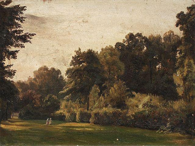 Christian Friedrich Gille, Parkszene im Großen Garten in Dresden. Wohl um 1850/ 1860.