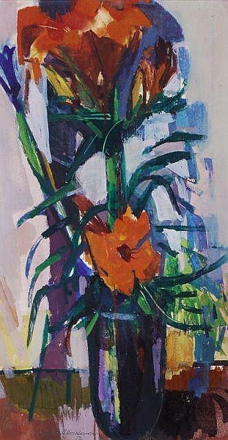 Bruno Müller-Linow, Stilleben mit Feuerlilien. 1957.