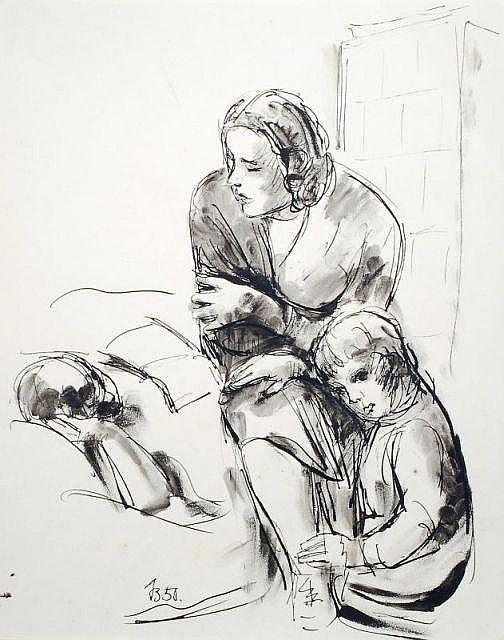 Johannes Beutner, Mutter und Kinder. 1950.