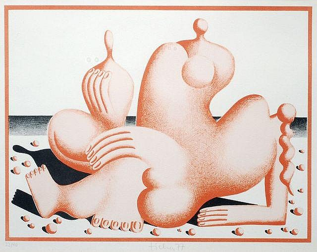 Hans Ticha, Am Strand. 1977.
