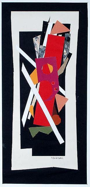 Hans Christoph, Komposition mit rotem Balken. 1987.