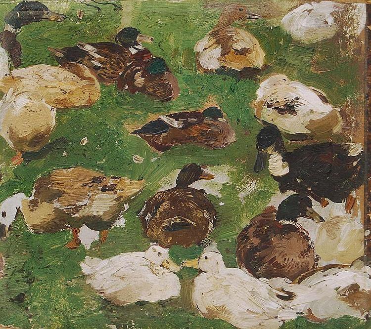 Hugo Mühlig, Enten am Ufer der Alten Düssel. Wohl um 1885.