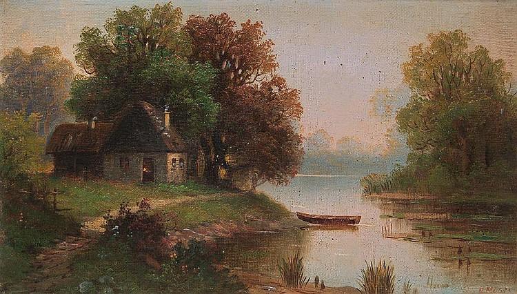 H. Moser, Seelandschaft mit Kate. 2nd half 19th cent.