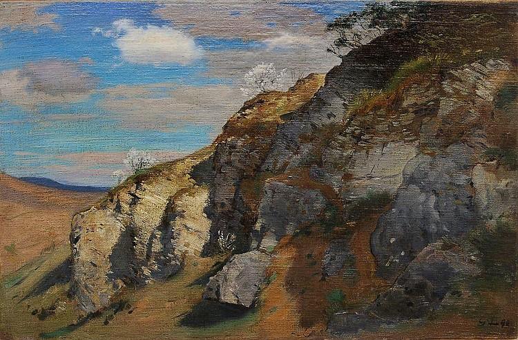 Georg Lührig, Felshügel im Frühling (Gebergrund in Goppeln?). 1898.
