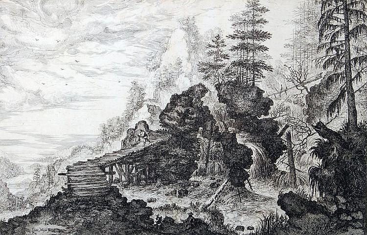 Isaac Major, Landschaft mit Brücke und Wanderer. 1st half 17th cent.