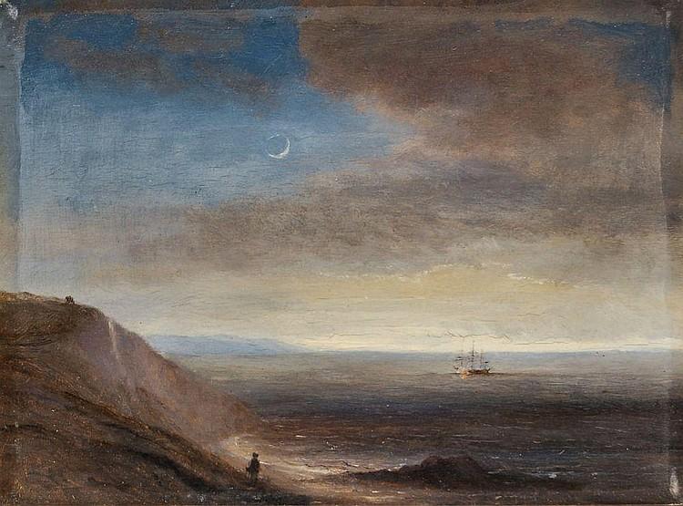 Thomas Fearnley(zugeschr.), Steilküste im Mondschein. Um 1835.