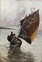 Frank Myers Boggs, Segelboot in der Wende vor der Küste von Dieppe. 1881.