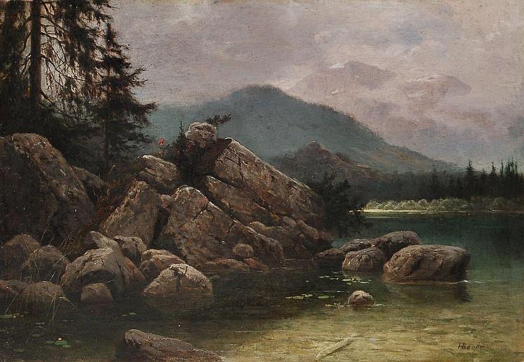 Hermann Bever, Bergsee. Um 1870.