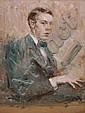 Paul Wilhelm, Selbstbildnis des Künstlers mit einem Buch in der Hand. Um 1912., Paul (1886) Wilhelm, Click for value