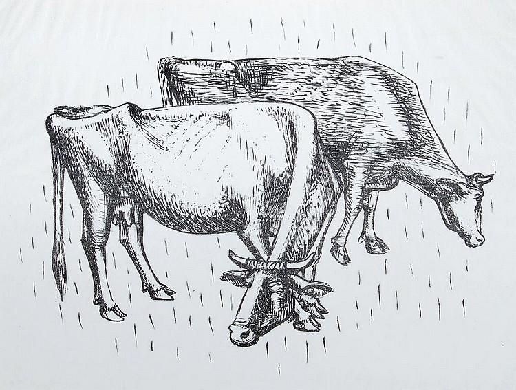 Waldemar Grzimek, Zwei weidende Kühe / Wildschweine. 1956/ 1958.