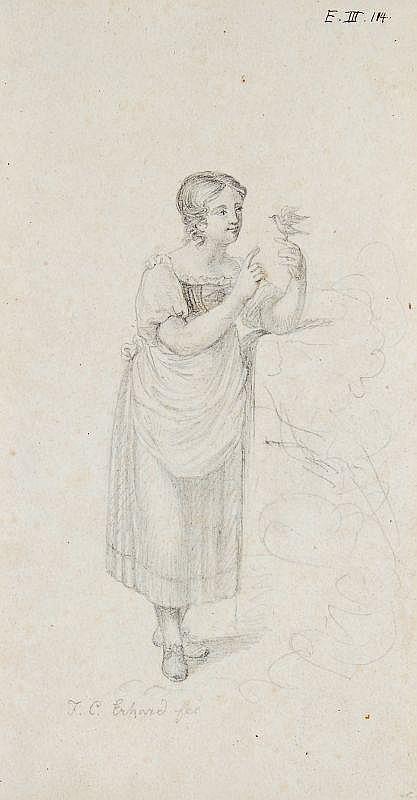 Johann Christoph Erhard, Mädchen mit Singvogel. Um 1815.