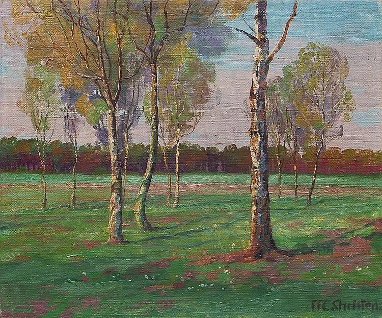 F. F.C. Christen, Landschaft mit Birken. No date.